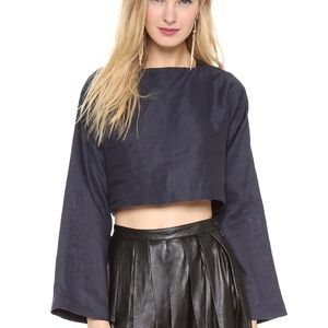 Elle Sasson Navy Crop Top with Leather Accents